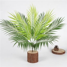 gardening potting table Promo Codes - Artificial Palm Tree Green Leaf Plants Plastic Potted Bonsai Leaves Garden Home Wedding Table Ornaments Decoration