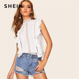 3f0b1c4bec SHEIN White Lace Insert Ruffle Detail Top Sleeveless Lace Blouse Women  Summer Keyhole Back Solid 2019 Boho Elegant Blouses