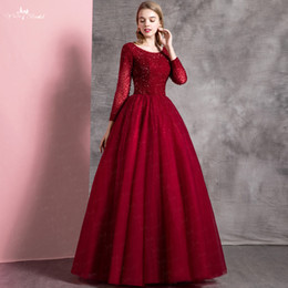 couture ball Promo Codes - Burgudy Ball Gown Long Modest Prom Dresses 2018 With Long Sleeves Beading Top Teens Formal Prom Party Gowns Sleeved Couture Custom Made