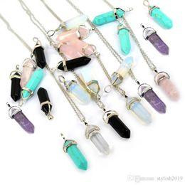 Bala Forma real naturais ametista cristal de quartzo Cura Ponto Chakra Bead Gemstone Opal pedra pingente WCW082 Cadeia Colares Jóias de
