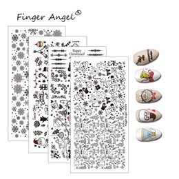 2019 artiglio chiodo angelo Finger Angel 1PCS Christmas Nail Stamping Plates Timbro Immagine Design unico Cartoon Elk Snowflake 6 * 12cm DIY Nail Art Template sconti artiglio chiodo angelo