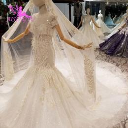 2019 weiße koreanische hochzeitskleider Großhandel Braut und Hochzeit Kleider weiß mit Cape Nizza mit Ärmeln Kleid Langarm koreanischen Hochzeitskleid günstig weiße koreanische hochzeitskleider