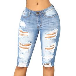 más el tamaño de pantalones cortos de jean azul Rebajas Casual Jeans Pantalones cortos Hole oficina atractiva desgaste diario Verano Azul Mujeres Pantalones cortos Mujer Plus Tamaño S-3XL