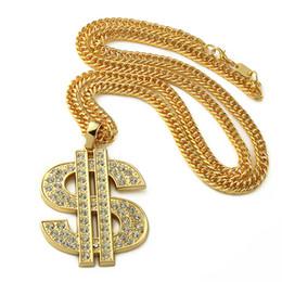 2019 collane di segno del dollaro Golden Bling Big Dollar $ Iscriviti collane Hip Hop Gioielli Regali Catene Uomo Donna Fascino Pendenti in cristallo collane di segno del dollaro economici