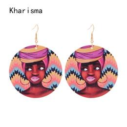 pendenti africani fatti a mano Sconti KHARISMA Hiphop / Rock in legno stampato orecchini pendenti indiano rotondo indiano personalità grande orecchini a pendente per le donne del partito