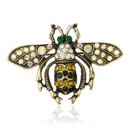 Cute Insect Bee Spilla Pins Spille di cristallo con strass Clip di sciarpe Donna Uomo Suit Pins accessori Gioielli da