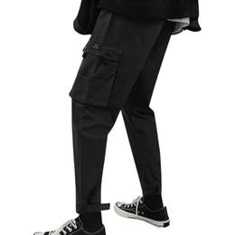 Calças multi coloridas on-line-Calças de Carga dos homens New Pure Colorido Solto Multi-bolso Cintura Elástica Workwear Calças Calças Streetwear Roupas