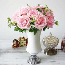 Rosas champagne online-Alta calidad7 Heads fondo de la boda Champagne Rosas decoración del hogar de la flor de la flor artificial de flores al por mayor de la boda