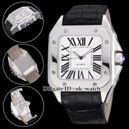 Белый спортивный квадрат онлайн-6 стилей Высокое качество НОВЫЙ W20073X8 Мужские Автоматические часы Белый 42 мм большой циферблат черный кожаный ремешок Квадратный циферблат мужские спортивные часы