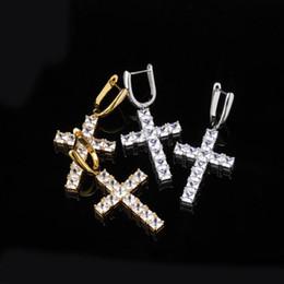 Pendientes de diamantes de las mujeres online-Diseñador de joyas pendientes de lujo de Bling encantos Cruz Pendiente Hombres Mujeres Moda Diamante Pendientes de Hip Hop Rapper Accesorios