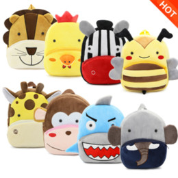 Animais de pelúcia de abelha on-line-Abelhas crianças Animal Plush Backpack Macaco Tiger Lion Sheep Cow Zebra Plush Shoulder Bag Crianças Escola saco do bebê dos desenhos animados Mochila