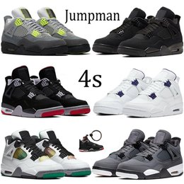 Neon schuhe männer online-Neue schwarze Katze 2020 Jumpman 4 4s Basketball-Schuhe Herren-metallic lila SE Neon Sneakers Winter, was die metallische grün orange Turnschuhe