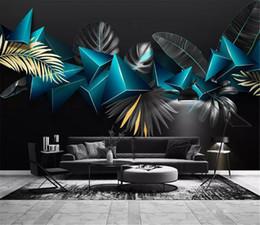 2019 tropischen drucktapete 3d Digitaldruck Seidentapeten Licht Luxus Moderne Einfache 3D Geometrische Tropische Pflanze Blatt TV Sofa Hintergrund Wandmalerei günstig tropischen drucktapete
