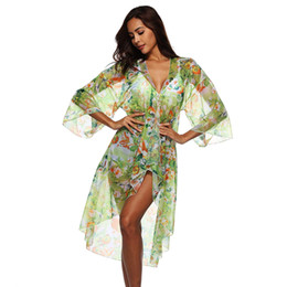 dc8c64bc2d China Womens 3 4 Sleeve Floral Print Swimsuit Cover Up Long Open Kimono  Cardigan Summer Beach