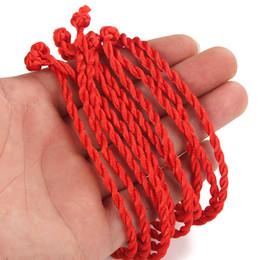 Chinesisches knotenseil online-10 stücke Red Rope Weave Lucky Handmade Armband Traditionellen Chinesischen Knotenwachs String Armband Schmuck Geschenke Für Frauen Männer