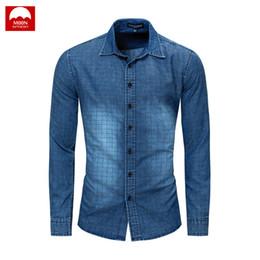 c159de3a011 Lapel Denim Shirt Lattice Man Soft Leisure New Retro Fashion Hot Long  Sleeve Spring And Autumn Slim Fit Button Cotton NZC-127 discount fitted  button down ...