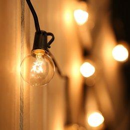 2019 bulbos de corda ao ar livre Cordas de LED 100FT 125 Lâmpadas de Luz G30 G40 G50 Lâmpada Luz Ao Ar Livre Quintal Lâmpada Luz Da Corda com Fio Da Lâmpada Preta desconto bulbos de corda ao ar livre
