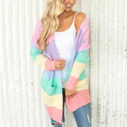 Casacos de mulheres bonitos casacos on-line-ZADORIN Rianbow Striped Cardigan Mulheres camisola de manga longa Abrir ponto malha Cardigan forma de Kawaii bonito camisola SH190912 Brasão Casual