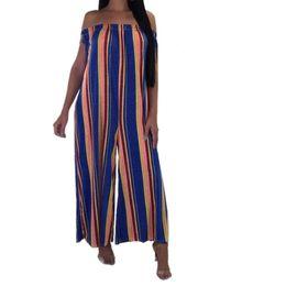 Moda mujer Slash cuello mono raya impresión poliéster fibra camisola chaleco sin mangas elegante suelta mono largo 10feb 20 desde fabricantes