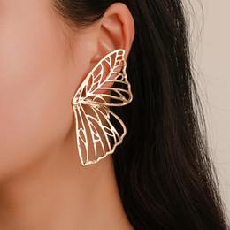 Abanico mariposa online-Moda con forma de abanico Pendientes creativos góticos alas de mariposa forma pendientes joyería punky hipérbole