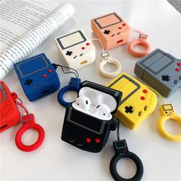 Maquina de silicona online-Máquina de juego Forma Auriculares Bluetooth Funda de piel AirPods Funda de silicona linda para auriculares Funda con correa anti-perdida Enchufe de polvo