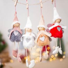 acryl urlaub baum Rabatt Neue nette engel mädchen herz haarige plüsch puppe frohe weihnachten dekoration anhänger kreative weihnachtsbaum ornamente party dekoration kinder geschenk