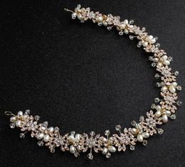 accesorios para el cabello boda india Rebajas 3 unids / lote moda diy hechos a mano corona de pelo jewely popular hairband tiara perla rhinestone diadema joyería de la boda joyería nupcial longitud 35 cm
