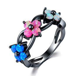 Deutschland Fashion Floral Bunten Feueropal Wolfram Stahl Ring für Mode Frauen Hochzeit Schmuck Größe 5-12 cheap steel fire rings Versorgung