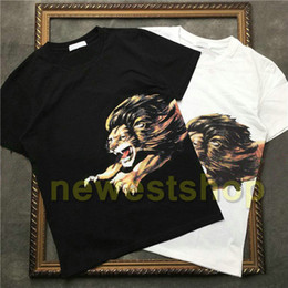Tee-shirt lion en Ligne-NEW Summer Brand designer Top Mens Lion Print t shirts embroidery letter print T Shirt Designer t shirt Tee high quality fashion TShirts