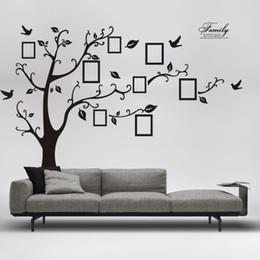 Marco de fotos de aves online-180 * 250 cm 3D DIY Family Tree Photo Frame grande etiqueta de la pared decoración para el hogar sala de estar cartel autoadhesivo PVC Birds Leaves Mural