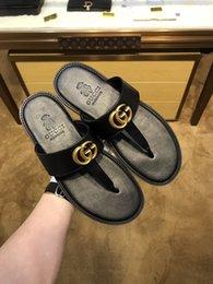 Флип-флоп украшения онлайн-Золотые украшения 'G' горячие продажи человек случайные шлепанцы в 2019 году лето натуральная кожа мода лучшие качества плоские тапочки