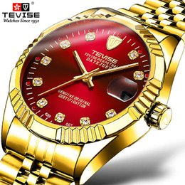 tevise brand watches Promo Codes - Luxury Brand TEVISE Mens Watches Men Automatic Mechanical Watch Stainless steel Date Waterproof Wristwatch Relogio Masculino