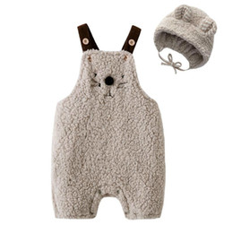 Deutschland Förderung Herbst Winter Baby Boy Designer Kleidung Kinder Designer Kleidung Baby Boy Strampler Fleece Overall + Kappe Hut 2 stücke ... Versorgung