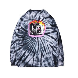 Lange hülse der männer sommer-t-shirts online-Mens Fashion Designer Astroworld T-Shirts Freizeit Hip Hop Tie Dye Male Summer Long Sleeve Buchstabe gedruckten T-Shirts