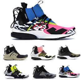 rosa mitte Rabatt 2019 Presto Mid Akronym Racer Pink Laufschuhe Herren Volt Olive Bambus Sportschuhe Sneaker Stiefel Trainer Mit Reißverschluss 5 Farbe 40-45