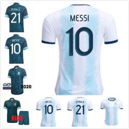 camisas de futebol verde em branco Desconto Copa America 2020 2021 ARGENTINA Futebol casa longe messi HIGUAIN AFASTADO ICARDI KUN agüero 20 21 Camisetas masculinas HOMEM + CRIANÇAS DE FUTEBOL CAMISAS