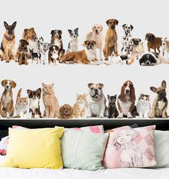 Falda de pared online-Venta al por menor 60 * 90 cm animal de dibujos animados decoración para el hogar pegatinas de pared perro gato bordear etiqueta de la pared dormitorio decoración de fondo pegatinas a prueba de agua calcomanía