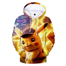 characters print sweatshirt Promo Codes - Pikachu Print Mens Designer Fashion Fleece Sweatshirts Loose Sleeve Couple Clothing Crew Neck Pullover Casual Apparel