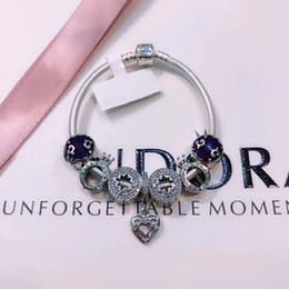 Charmes pandora en argent sterling véritable en Ligne-Véritable bracelet en argent sterling 925 avec une échelle de LOGO pour des perles à breloques européennes