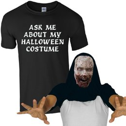 72136b2283017 Ask Me About My Halloween Costume Freaky Zombie T-Shirt Scary Face Mens  Flip Top custom printed tshirt