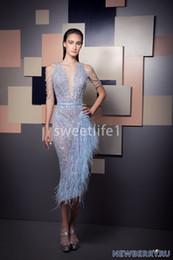 vestidos de chá céu azul Desconto ziad-Nakad 2020 Recém Sky Light Blue Prom Vestidos Cape luva Plunge V Neck frisada Pedrinhas bainha de penas lengt Vestidos de chá