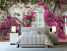 2019 3d rosa flor pano de fundo Tamanho personalizado 3d foto papel de parede sala de estar sala de cama mural rose flor parede de tijolos imagem da bicicleta sofá tv pano de fundo papel de parede não-tecido adesivo 3d rosa flor pano de fundo barato