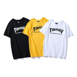 Skateboard shorts männer online-Thrasher Herren T Shirt Mode Männer Frauen Luxus Hohe Qualität Kurzarm Herren Skateboard Hip Hop T Shirt Größe S-2XL