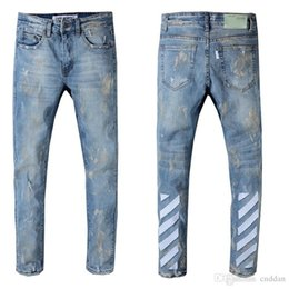 2019 herren designer jeans 42 2019 Designer Mens Distressed Weiß aus Jeans US-Größe 29-42 Slim Fit Motorrad Biker Denim für Männer Marke Designer Hip Hop Mens Jeans rabatt herren designer jeans 42