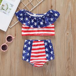 Trajes de rayas para niñas para EE. UU. El cuatro de julio Día nacional de los niños Ropa para niños Ocasión especial Vestimenta para niñas 2 piezas de natación desde fabricantes