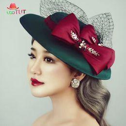 9a4e256f147 Ladies Bridal Bowler Hats Prom Hat Brocade Wedding Hat With Veil Fashion  Elegant Red Bow Head Wear Banquet Hats Green