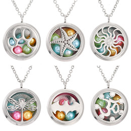 "steel floats Coupons - More Styles 8mm Beads Pearl Cage Lotus Daisy Diameter 30mm Round Magnetic Closed Floating Locket 27"" Chain Pendant necklace Charms Gift"