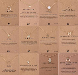 pearl key charm Coupons - Dogeared Necklace With Gift card Elephant Pearl Love Wings Cross Key Zodiac sign Compass lotus Pendant For women Fashion Jewelry GB1639
