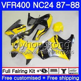 Carenado vfr amarillo online-Cuerpo amarillo negro para HONDA RVF400R VFR400 R NC24 V4 RVF400RR VFR400R 87 88 267HM.17 RVF VFR 400 R VFR400RR VFR 400R 1987 1988 kit de carenado