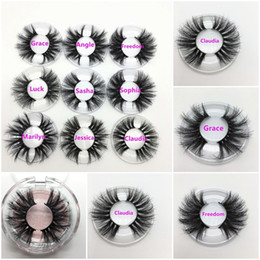 free eyelashes Promo Codes - 25 mm Long 3D Mink Eyelashes Private Label Logo Mink Eyelash Extensions Dramatic Thick Mink Lashes Cruelty free Fluffy Natural False Lashes